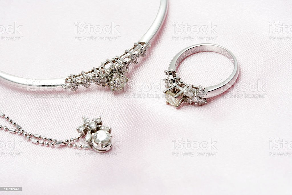 Diamond jewelry with silver and white stock photo