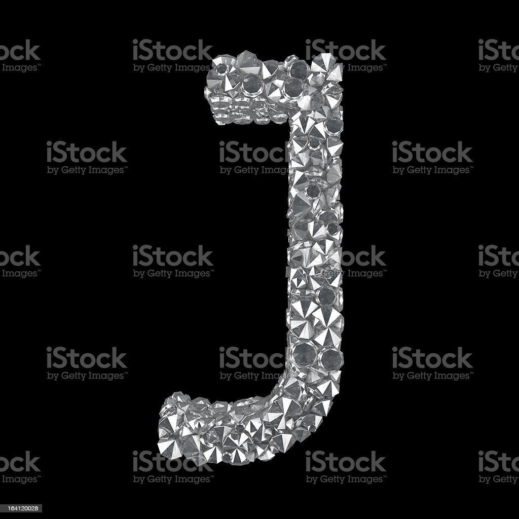 Diamond Letter J stock photo