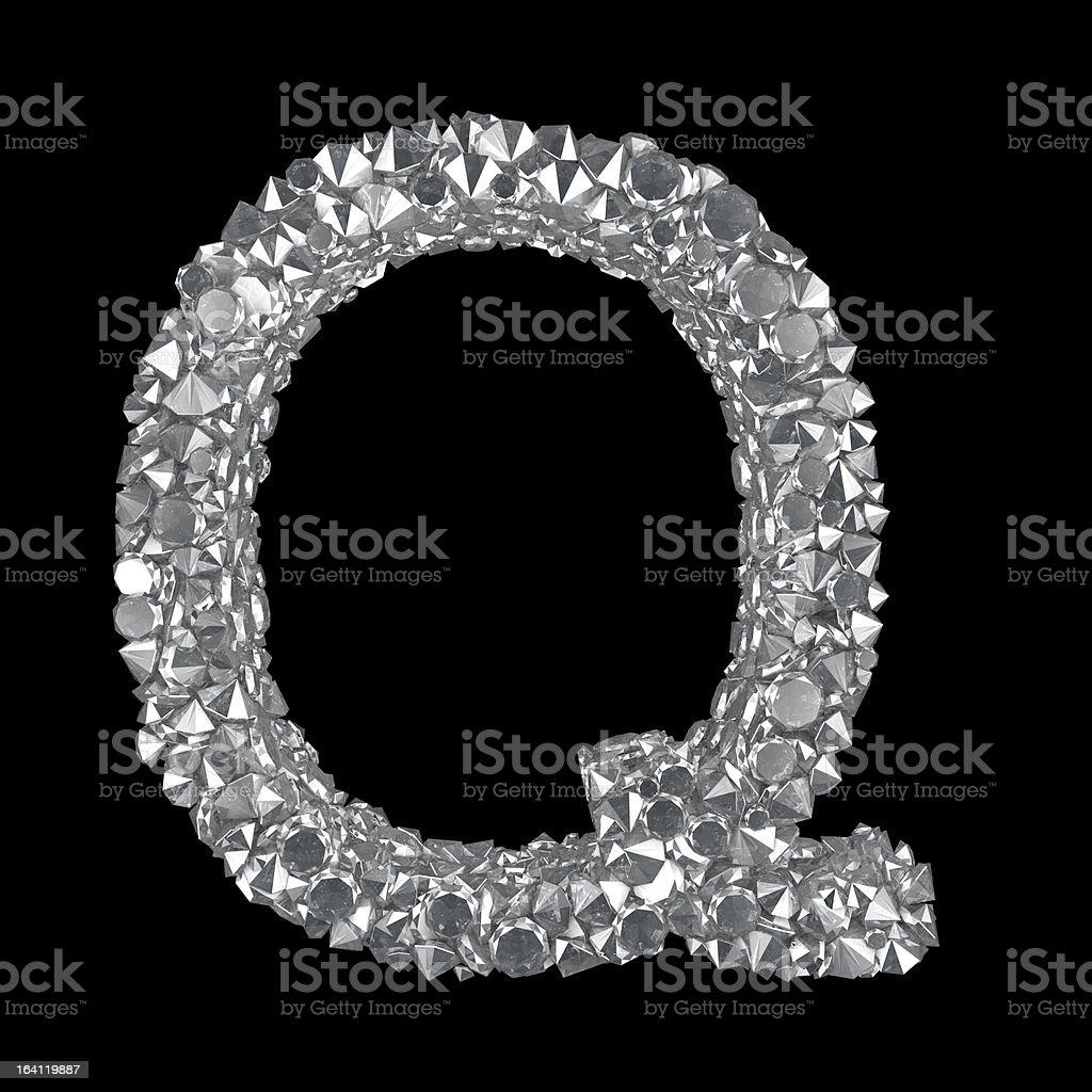 Diamond Letter Q royalty-free stock photo