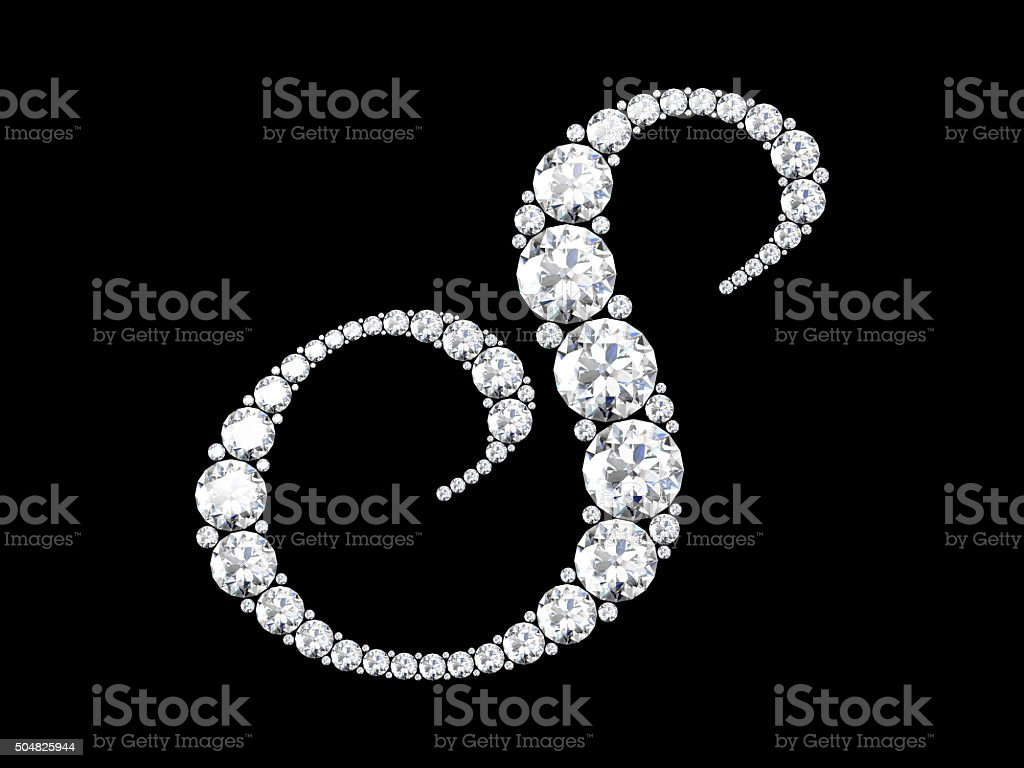 Diamond letters with gemstones isolated on black stock photo