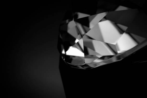 B&W diamond macro stock photo
