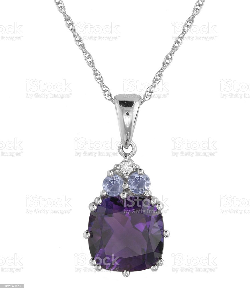 Diamond & Multi Stone Pendant stock photo