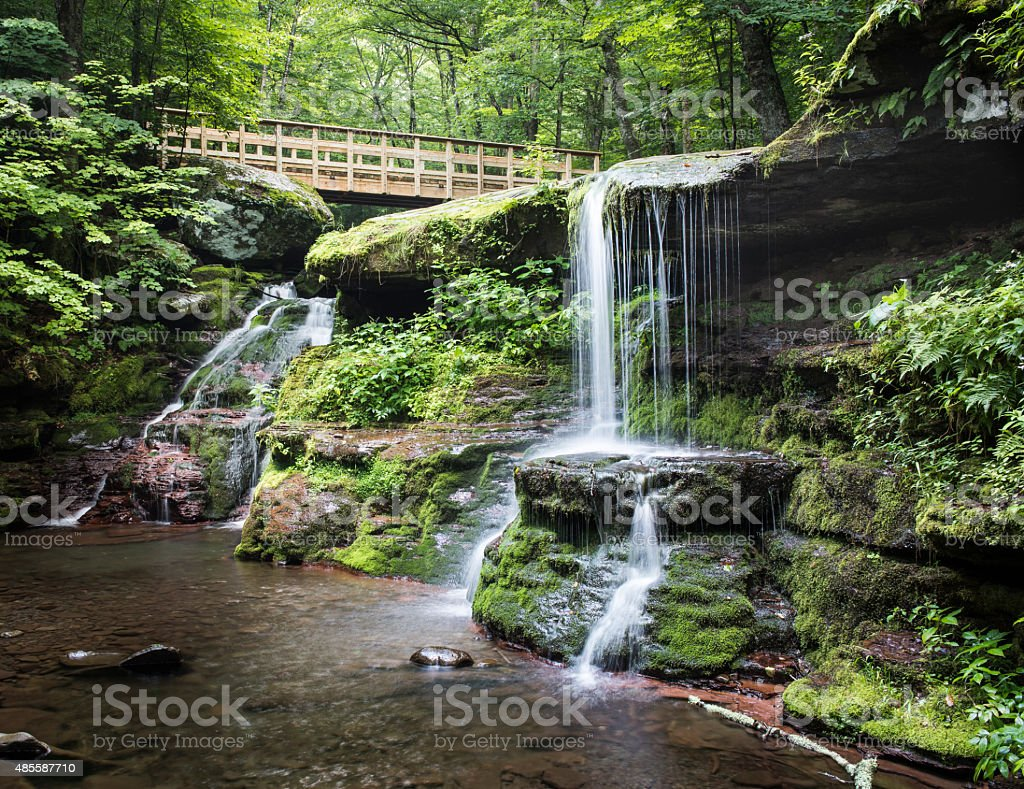 Diamond Notch Falls and Footbridge in the Catskill Mountains Diamond Notch Falls and the trail footbridge in the morning. 2015 Stock Photo