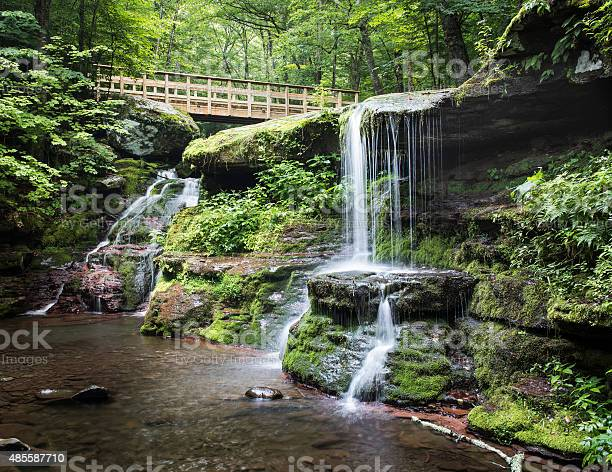 Diamond Notch Falls And Footbridge In The Catskill Mountains Stock Photo - Download Image Now