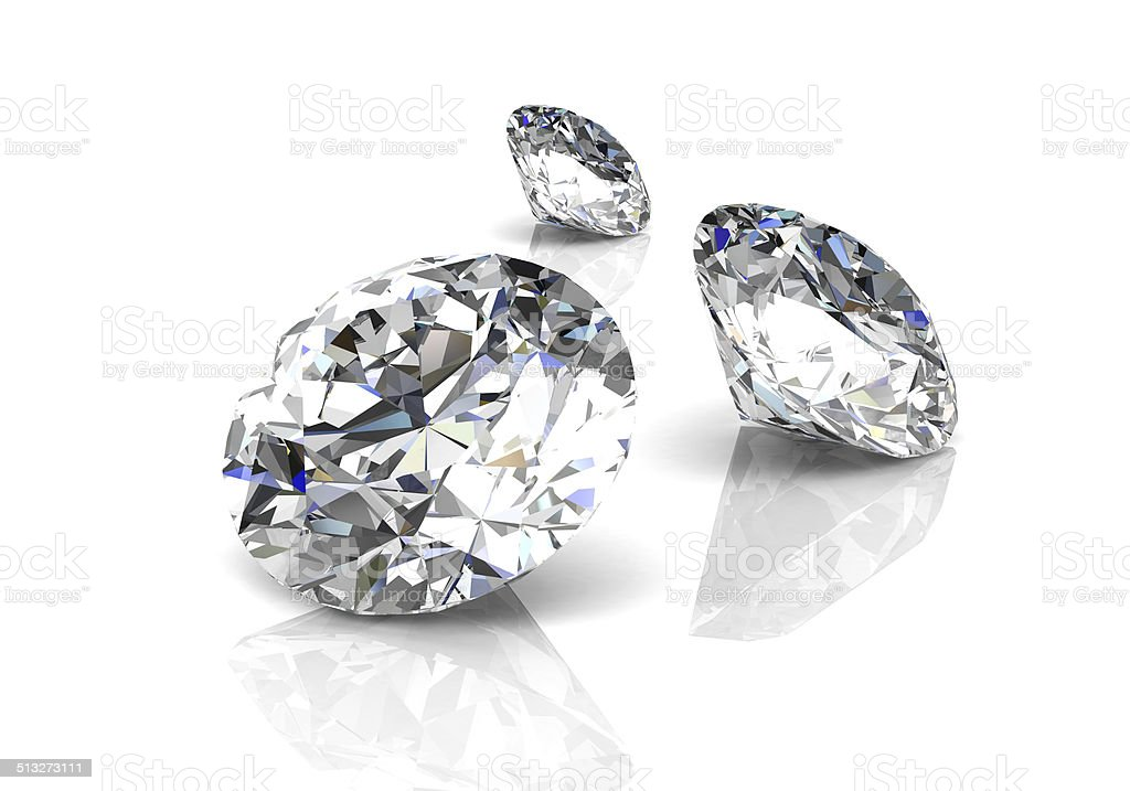 diamond on white background (high resolution 3D image) stock photo