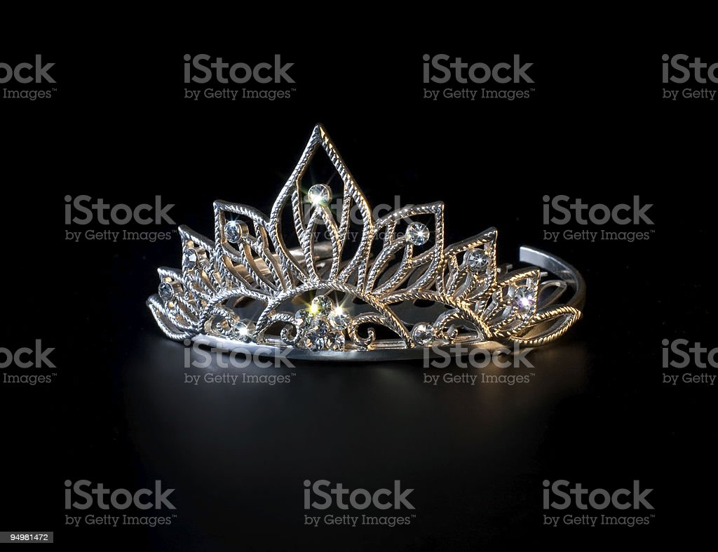 Diamond pageant tiara on black background stock photo