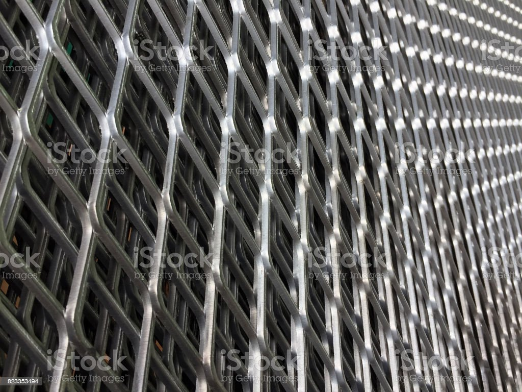 Diamond pattern of metal grille. stock photo