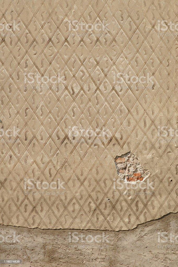 Diamond Pattern on Old Wall royalty-free stock photo