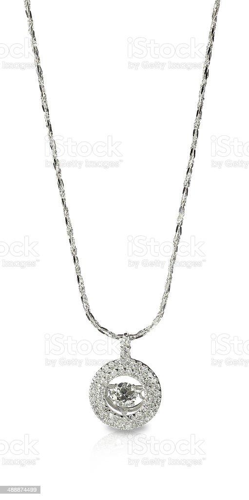 Diamond Pendant Necklace on a chain stock photo