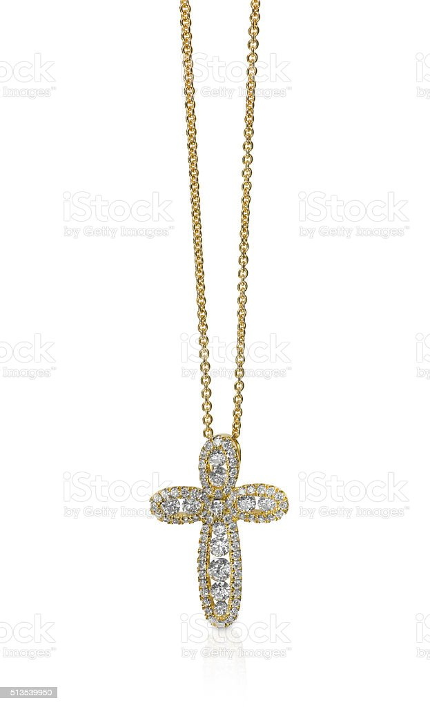 Diamond Pendant Necklace on a chain stock photo