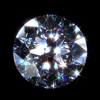 3D diamond. View on crown