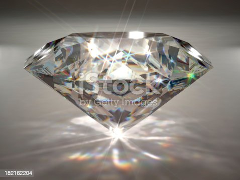 A large diamond with spectral dispersion effect. Very high resolution 3D render with slight DOF blur.
