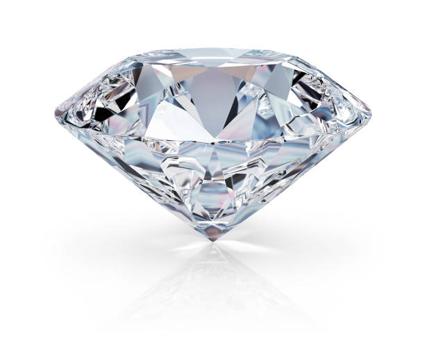 Diamond A beautiful sparkling diamond on a light reflective surface. 3d image. Isolated white background. stone object stock pictures, royalty-free photos & images