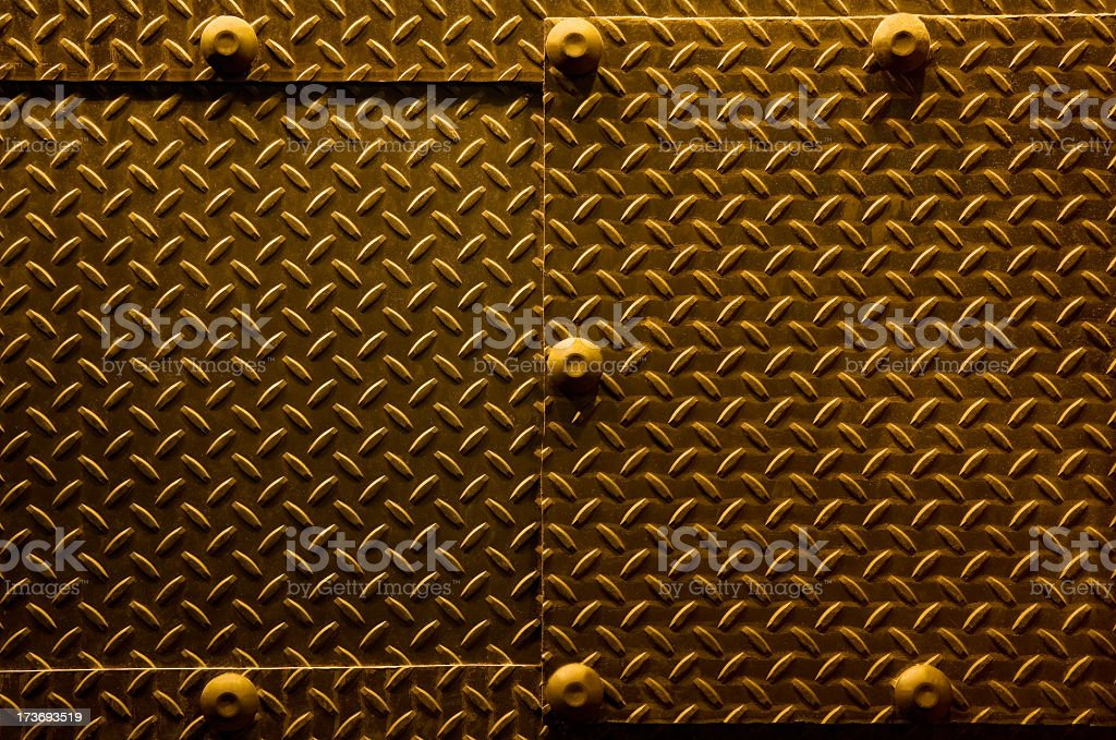 diamond plate steel with bolts royalty-free stock photo