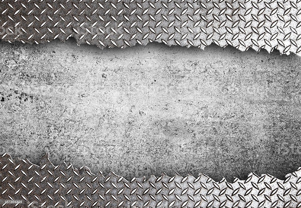 Diamond plated and bad steel weld stock photo