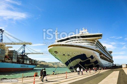 istock Diamond Princess cruise at Port Chalmers, New Zealand 1204624884