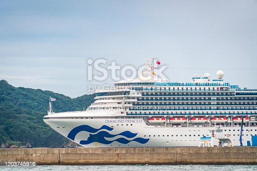 Toba, Japan - 24 Sep 2019 : Diamond Princess cruise is docking on Toba island, Japan.