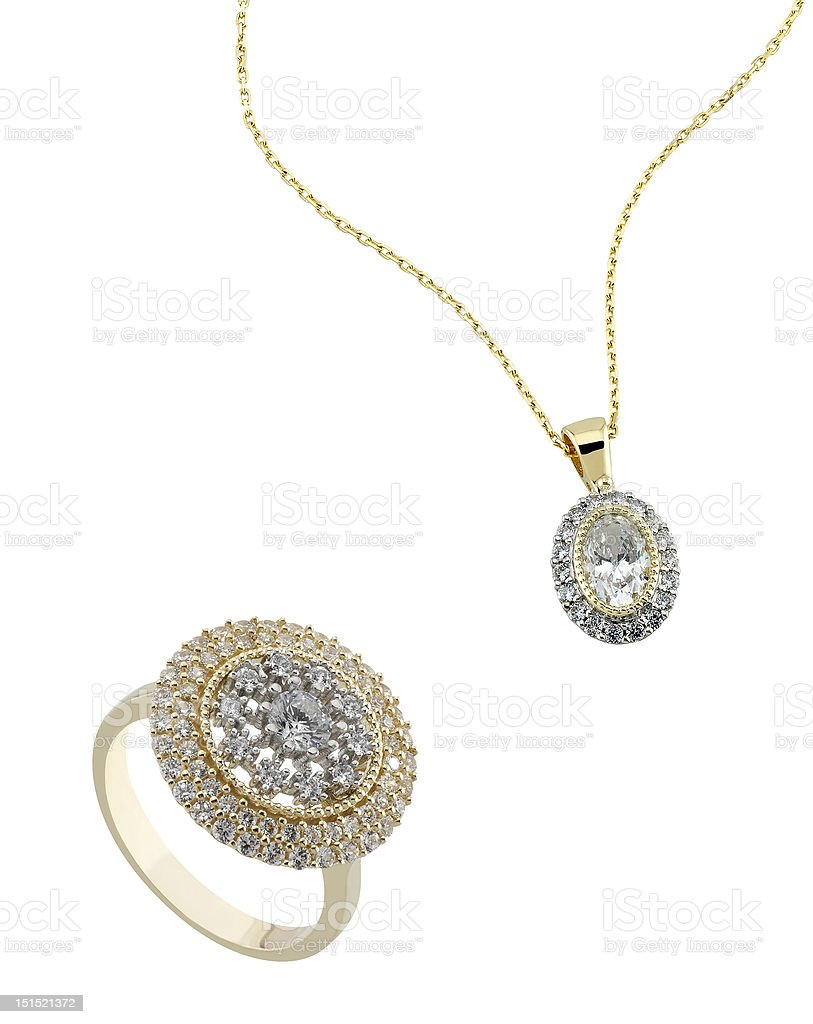 Diamond ring and necklace. stock photo