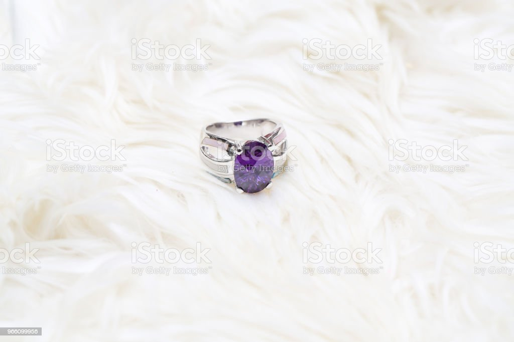 diamond ring and purple gemstone - Royalty-free Amethyst Stock Photo