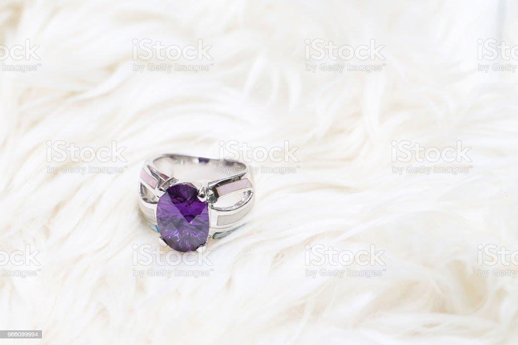 diamond ring and purple gemstone - Royalty-free Amethyst Stock Photo