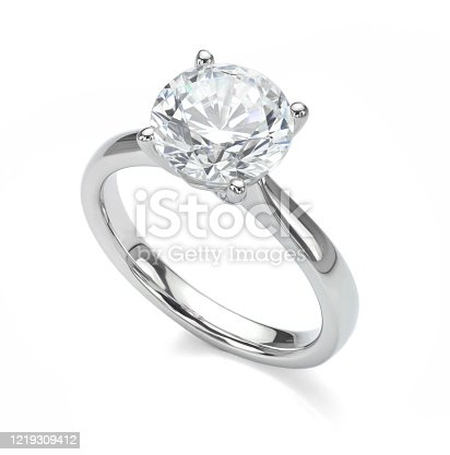 Big diamond solitaire engagement ring in platinum or white gold isolated on a white background.