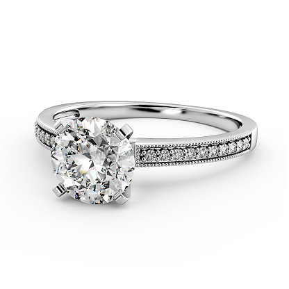 Engagement Ring with diamonds in white gold