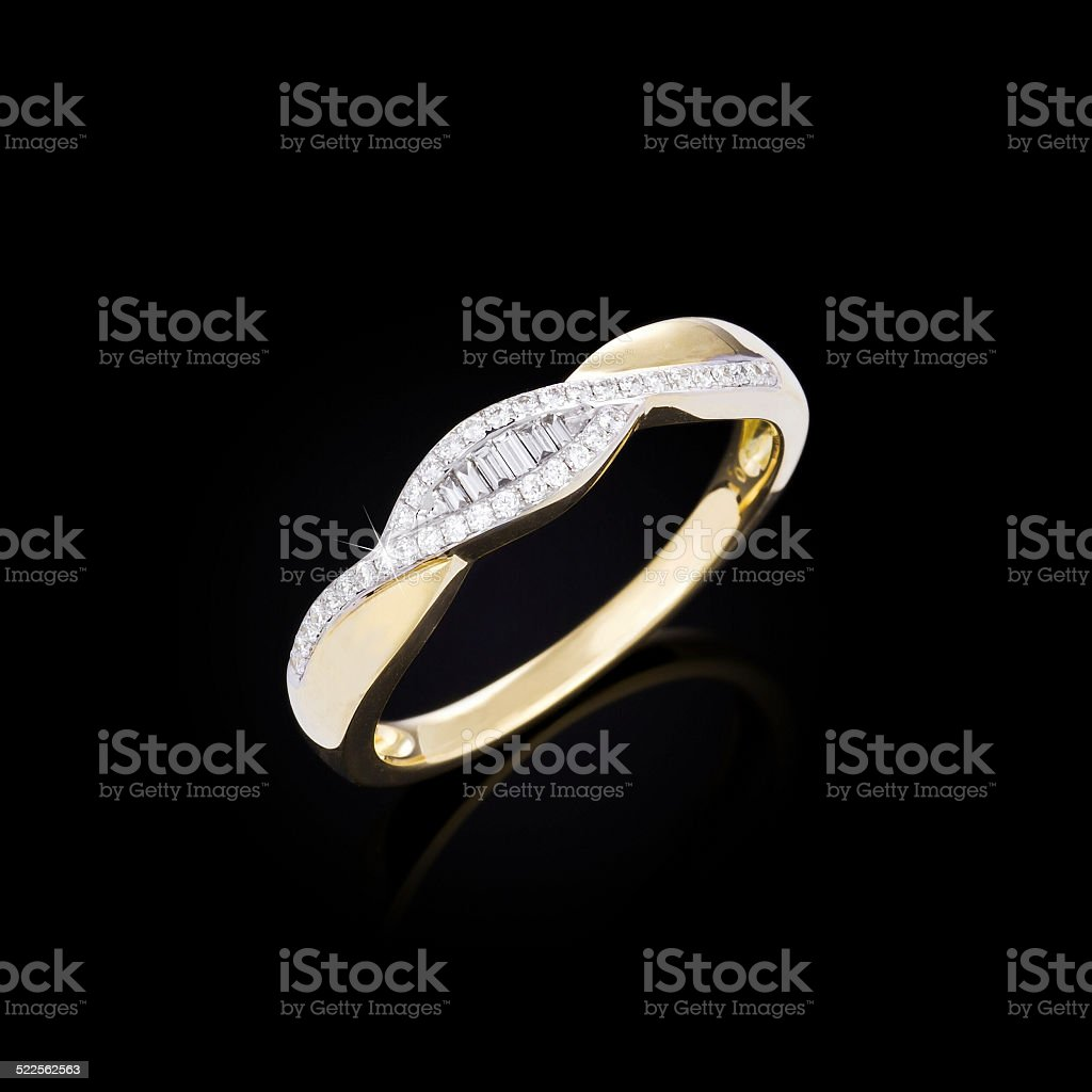 Diamond ring on black background stock photo