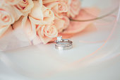 Diamond Ring on Flower Background