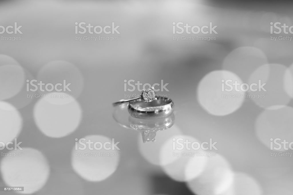 Diamond Ring on Glass Table stock photo