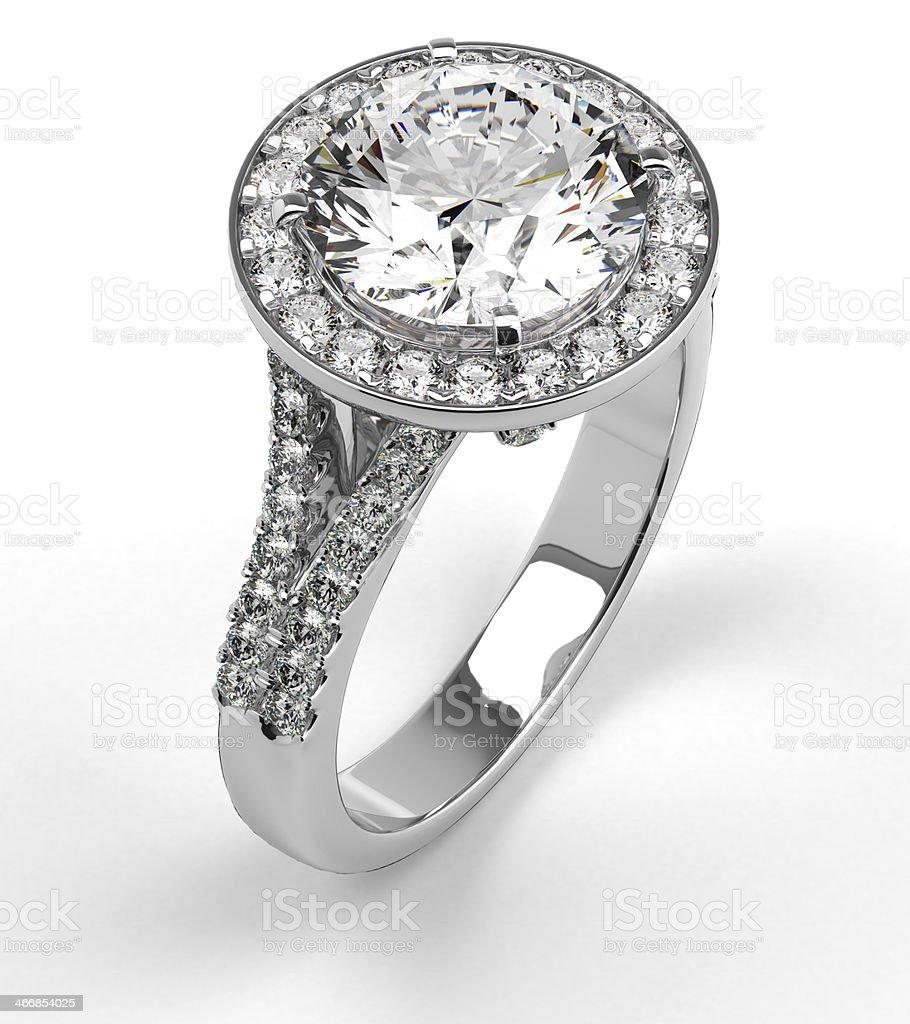 Diamond Ring on White stock photo