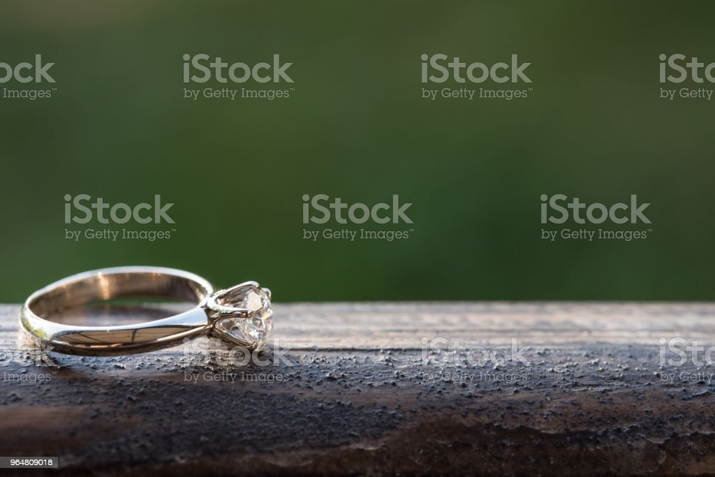 Diamond Ring on Wood royalty-free stock photo