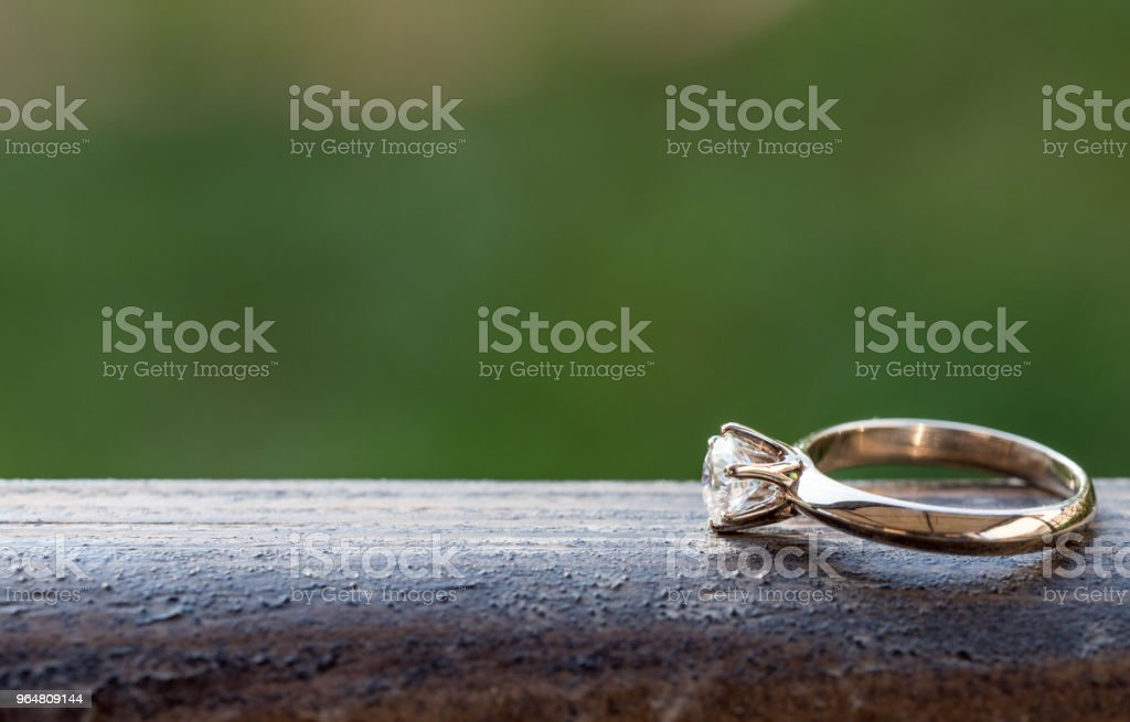 Diamond Ring on Wood royalty-free stock photo