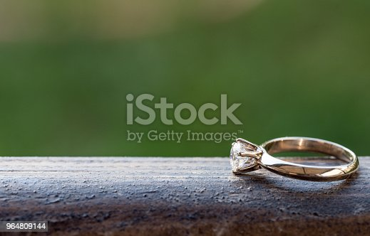 Diamond Ring On Wood Stock Photo & More Pictures of Beauty