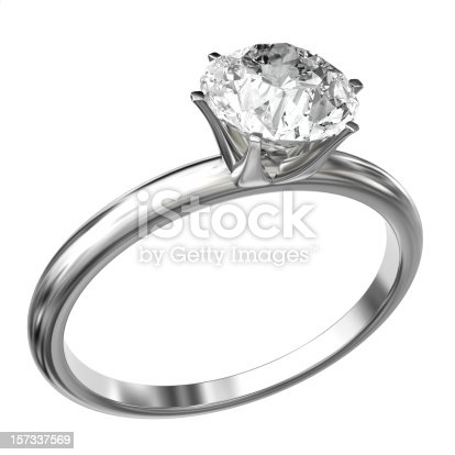 White gold ring with a large princess cut diamond isolated on a white background. Very high resolution 3D render.