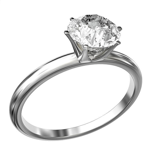Diamond Ring White gold ring with a large princess cut diamond isolated on a white background. Very high resolution 3D render. ring jewelry stock pictures, royalty-free photos & images
