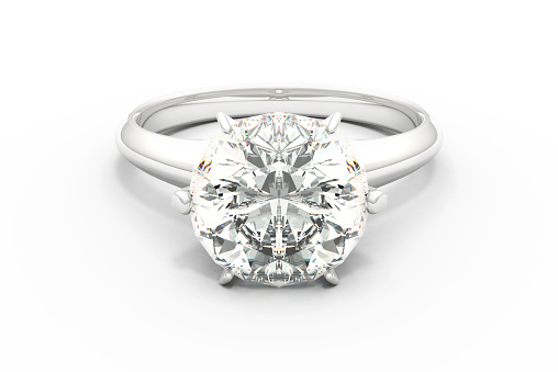Realistic 3D render of  diamond ring.
