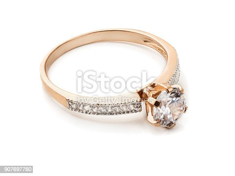 Gold diamond ring isolated on white