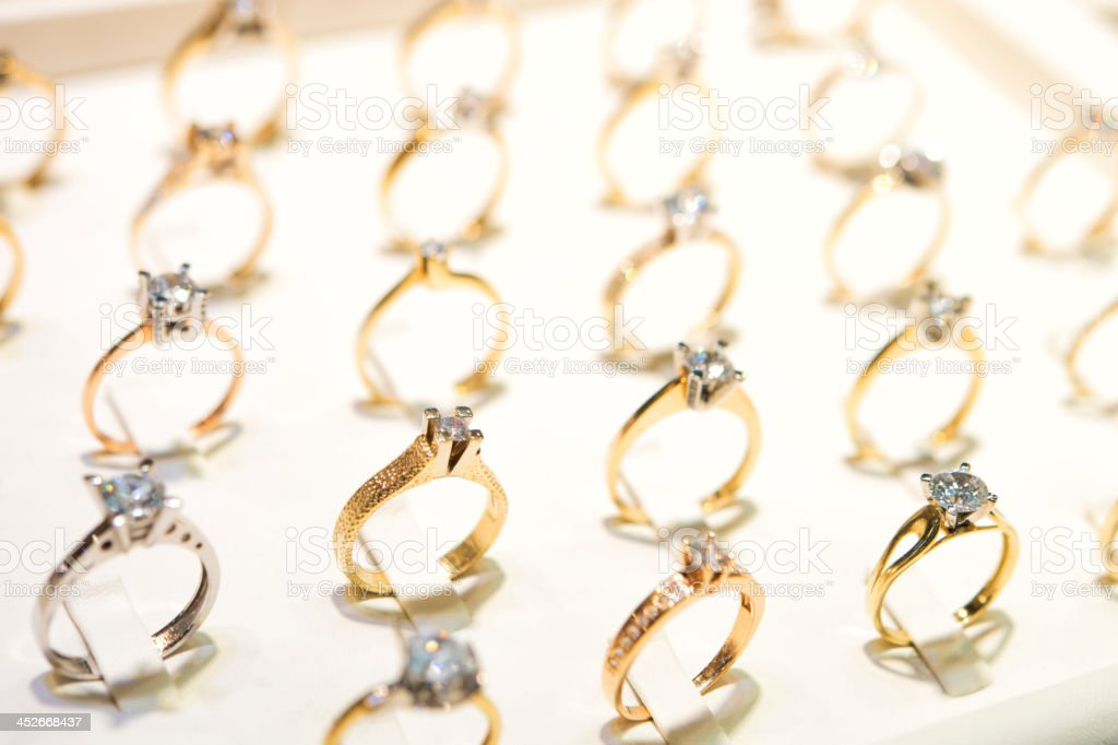 Diamond rings on window display stock photo