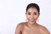istock Diamond Ruby Ring Earrings Jewelry on Asian Long straight black hair 871448156