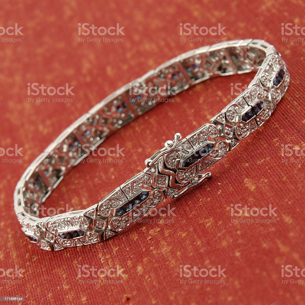 Diamond Saphire Vintage Bracelet royalty-free stock photo