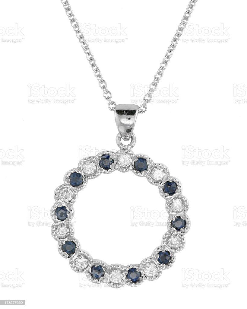 Diamond sapphire pendant stock photo