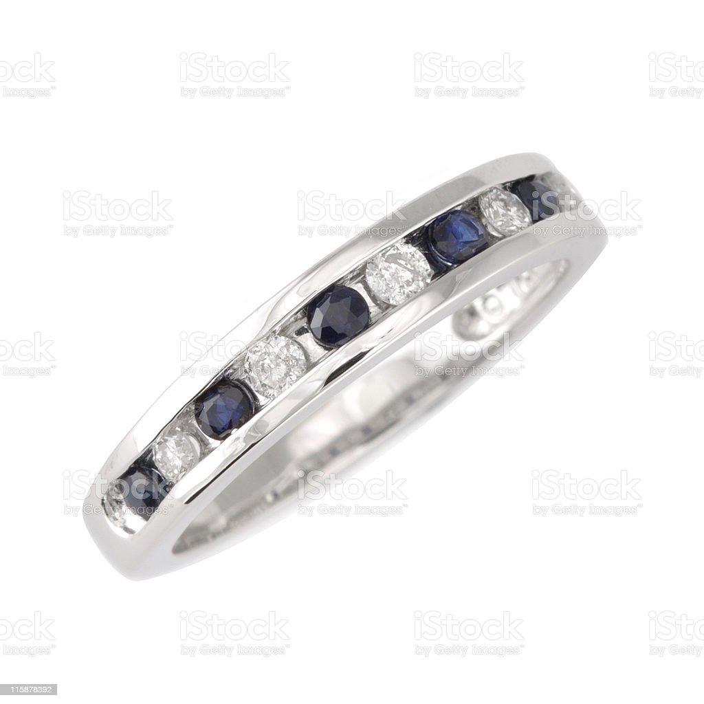 Diamond & Sapphire Ring royalty-free stock photo