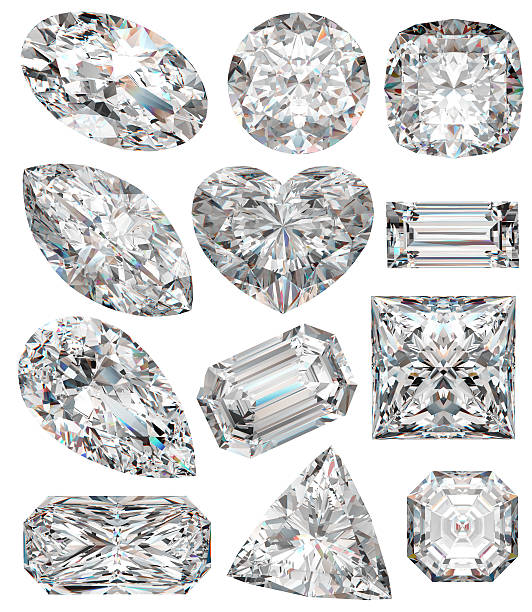 Diamond shapes. Diamond shapes isolated on white. 3d illustration. stone object stock pictures, royalty-free photos & images