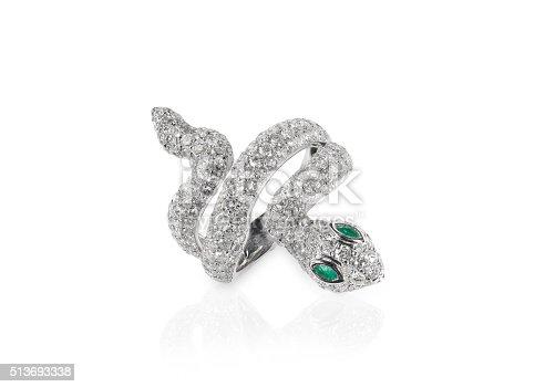 istock diamond snake ring with emerald eyes 513693338