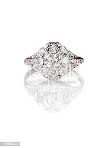 istock Diamond solitaire engagement wedding ring vintage antique 513680336