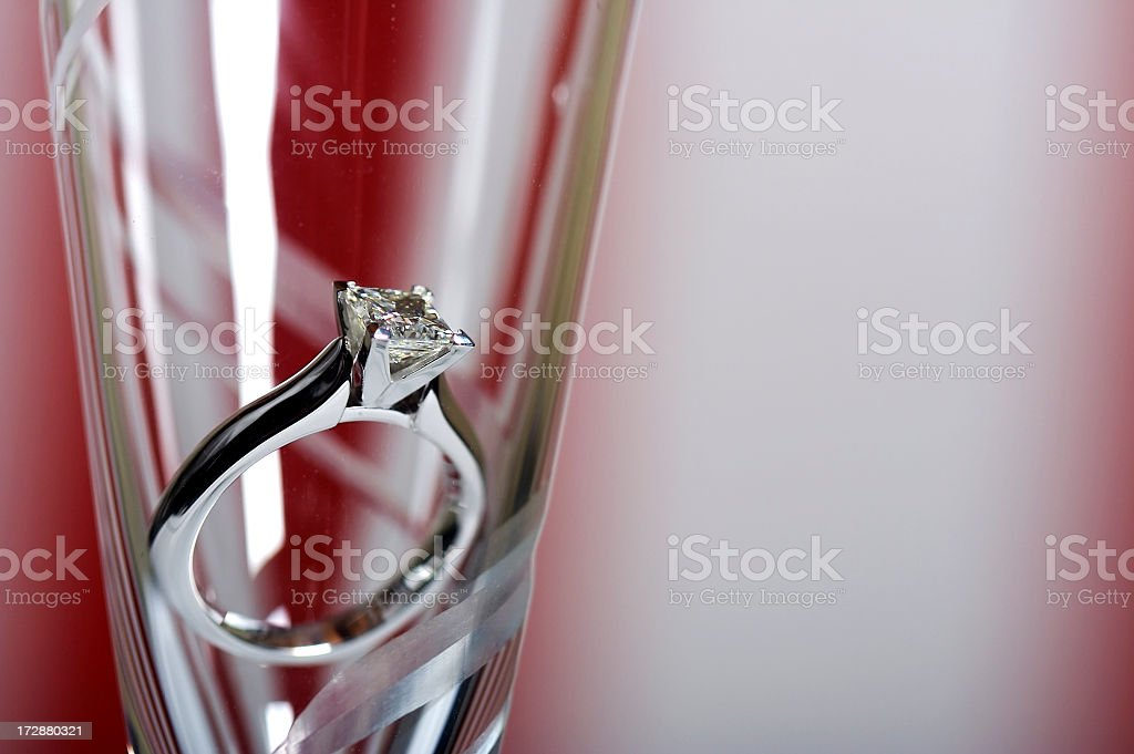 Diamond Solitaire in a Champagne Flute royalty-free stock photo