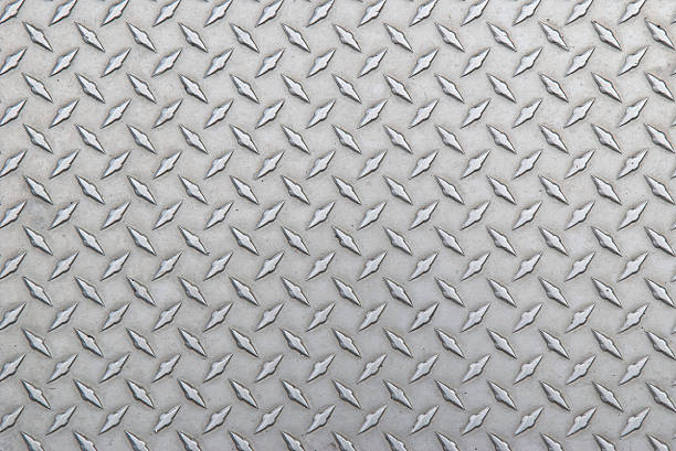 Diamond Steel Tread Background Slightly Worn Horizontal Well worn diamond steel tread plate background stepping stock pictures, royalty-free photos & images