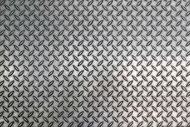 diamond steel tread background worn - diamond plate background stock photos and pictures