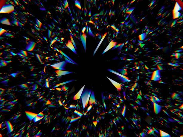 ダイヤモンド構造の極端なクローズ アップと万華鏡。丸い宝石の平面図 3 d のレンダリング、3 d イラストレーション - プリズム ストックフォトと画像