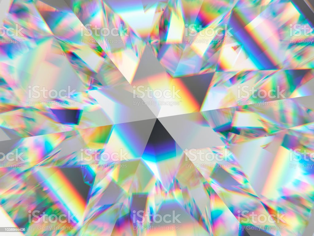 diamond structure extreme closeup and kaleidoscope. top view of round gemstone 3d render, 3d illustration stock photo